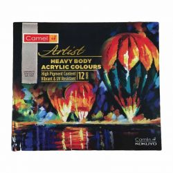 Artist Heavy Body Acrylic Colours- UV Resistant -12 Shades Pack